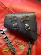 La Rosa Design 2004 Up Sportster Left side Black PU Leather Solo Bag.