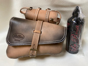 SALE!Left Side Hand Dyed Solo Saddle Bag for 2016 & Up Triumph Bobber with spare Fuel Bottle