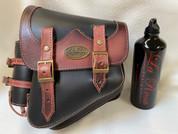 New La Rosa Harley-Davidson All Softail Models Left Side Solo Saddle Bag  Swingarm Bag BLACK ANTIQUE SHEDRON Fuel Bottle Holder