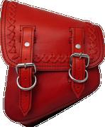 La Rosa Harley-Davidson All Softail Models Left Side Solo Saddle Bag  Swingarm Bag Red Cross Laced