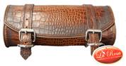 Front Forks Tool Bag Antique Brown Alligator Skin Embossed Leather