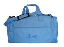 Light Blue Gear Bag shown with a Curly Style Monogram.