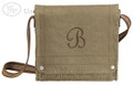 This Field Bag was stitched with Brown thread to match the strap using the French Script Letter Style.