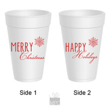 Merry Christmas Happy Holidays Styrofoam Cups