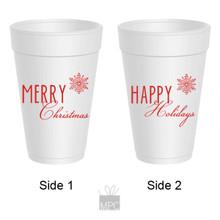 Merry Christmas Happy Holidays Styrofoam Cups