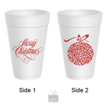 Merry Christmas Ornament Styrofoam Cups