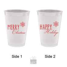 Merry Christmas Happy Holidays Frost Flex Plastic Cups