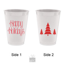 Christmas Happy Holidays Frost Flex Plastic Cups