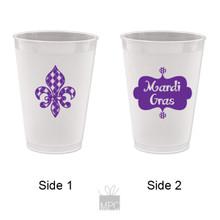 Mardi Gras Argyle Fleur De Lis Frost Flex Plastic Cups