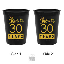 30th Birthday Cheers to 30 Years Black Stadium Plastic Cups