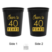 40th Birthday Cheers to 40 Years Black Stadium Plastic Cups