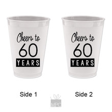 60th Birthday Cheers to 60 Years Frost Flex Plastic Cups