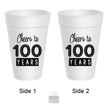 100th Birthday Cheers to 100 Years Styrofoam Cups
