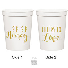 Wedding Engagement Sip Sip Hooray Cheers to Love White Stadium Cups