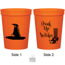 Halloween Drink Up Witches Orange Stadium Plastic Cups