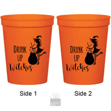 Halloween Drink Up Witches Cauldron Orange Stadium Plastic Cups
