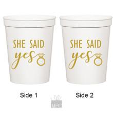Wedding Engagement She Said Yes White Stadium Cups