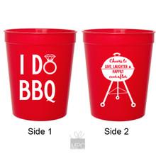 Wedding Engagement I Do BBQ Red Stadium Plastic Cups