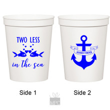 Wedding Engagement, Two Less Fish in the Sea, White Stadium Plastic Cups