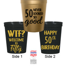 50th Birthday, WTF, 50 Never Looked So Good Stadium Plastic Cups