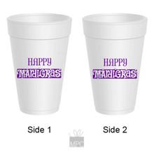 Happy Mardi Gras Styrofoam Cups