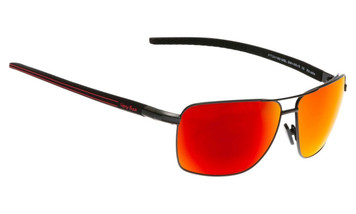 Ugly Fish Triacetate(TAC) Polarised Sunglasses PT24166 Matt Black Aluminium Frame Red Revo Lens