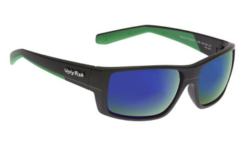 Ugly Fish Polarised Electra Sunglasses PC6818 Matt Black Frame Green Revo PC Lens