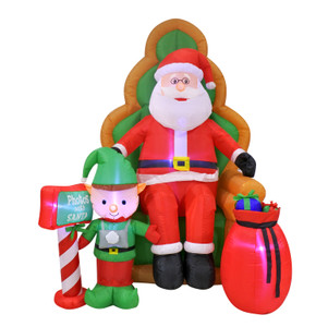 Airpower Inflatable Santa on Chair with Elf 1.8m