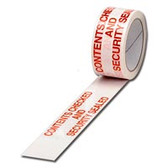 'Contents Checked And Security Sealed'  - Clearly Marked Tape with 'Contents Checked And Security Sealed' copied on the surface area. White tape with a bold red text font ensure security and integrity for your product. Sold in boxes of 36 rolls these pre-printed tape rolls are a must for your delivery needs.