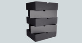 Black cardboard office drawers