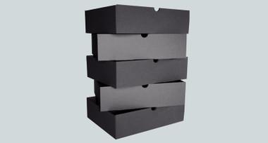 Black cardboard office drawers