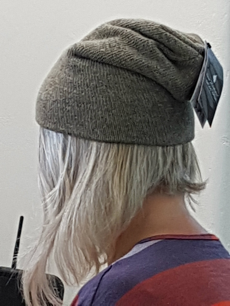 Julie Modelling our NZ Natural Clothing Woolen Beanie while putting it up  online! 0c5d19d7c4f