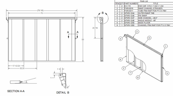 """Ramp is 75"""" X 50"""" with an expanded metal top. This will fit trailers with an 79"""" indside deck measurment. This ramp is made to stand up or lay down inside deck when traveling"""