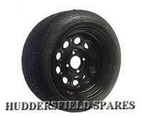 7x13 Weller Motorsport style black Steel Mini Rims and Nankang 175/50/13 tyre package, for classic mini etc
