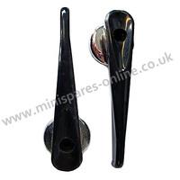 Black plastic interior door openers for classic Mini, USED PAIR