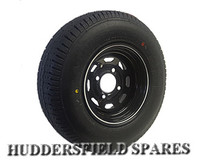 5.5x10 Black Weller Style Steel Mini Rim and tyre package, for trailers, classic mini etc