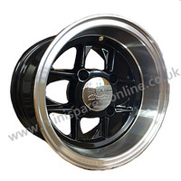 6x10 Black (polished rim) Mamba alloy wheel package for classic Mini