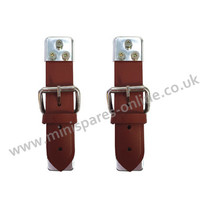 High Quality Brown/Tan Leather Works Type Bonnet Straps pair