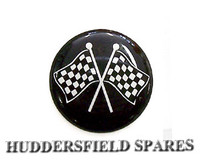 Cross chequer flag blown vinyl badge, 42mm