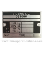 B L Cars chassis/engine plate LMG1038