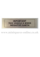 Negative earth engine/chassis sticker for classic Mini LMG1005