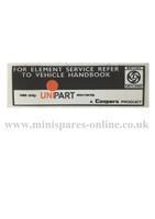 Unipart air filter chassis/engine sticker for classic Mini LMG1015