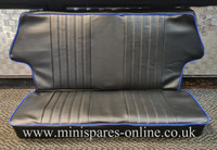 Rear seat cover Black piped Blue for Classic Mini
