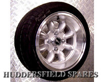 7x13 Silver (all over) Superlight Ridged deep dish alloy wheel package for Classic Mini