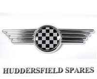 Black and silver chequer bonnet badge