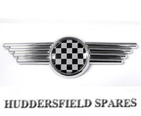 Black and white chequer bonnet badge