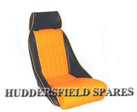 Cobra classic orange and black signature seat