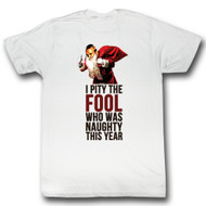 Mr. T 1980's Wrestler as Santa Pity the Naughty Fool Christmas Adult T-Shirt