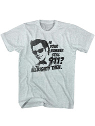 Ace Ventura 1994 Comedy Movie Jim Carrey 911 Allrighty Then Grey Adult T-Shirt