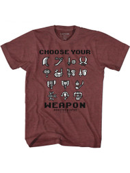 Monster Hunter Choose Your Weapon Vintage Maroon Heather Adult T-Shirt Tee